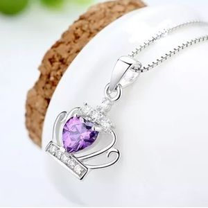 Amethyst Crown Pendant Sterling Silver Necklace